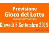 Previsione Lotto 5 Settembre 2019