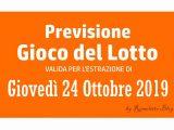 Previsione Lotto 24 Ottobre 2019