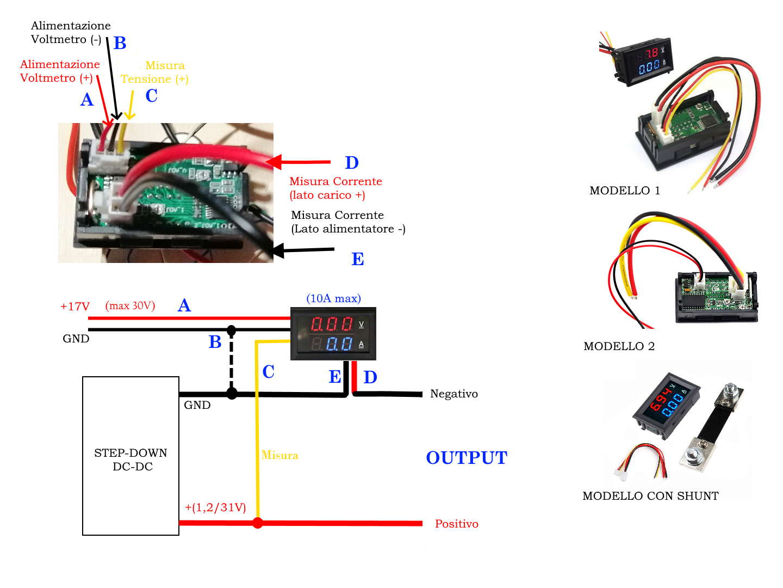 Collegamenti dell'Amperometro-Voltmetro da 10A