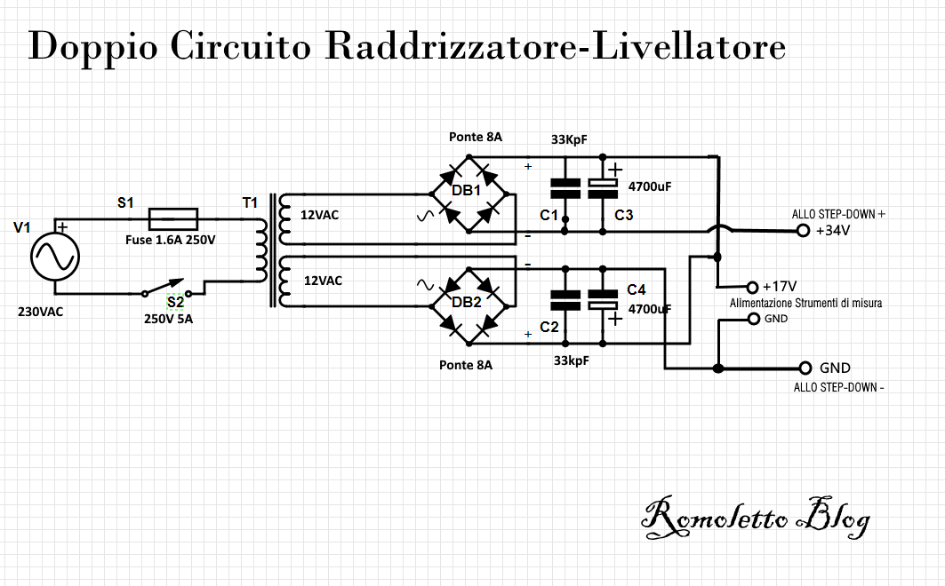 Collegamento Raddrizzatore Livellatore allo stepdown e allo strumento