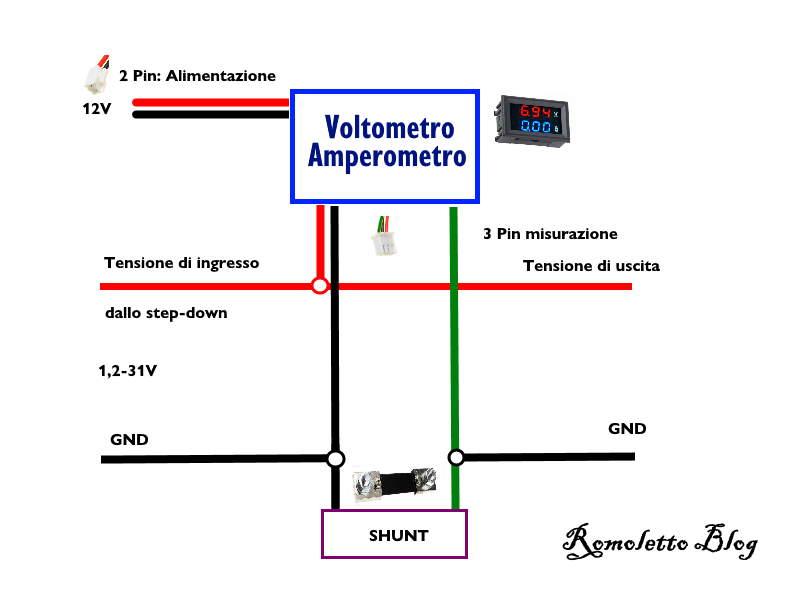 Collegamento Shunt Amperometro Voltmetro