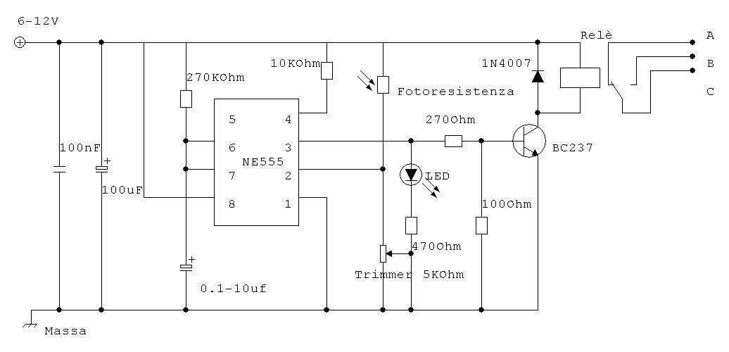 Interruttore crepuscolare - Circuito Elettronico