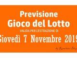 Previsione Lotto 7 Novembre 2019