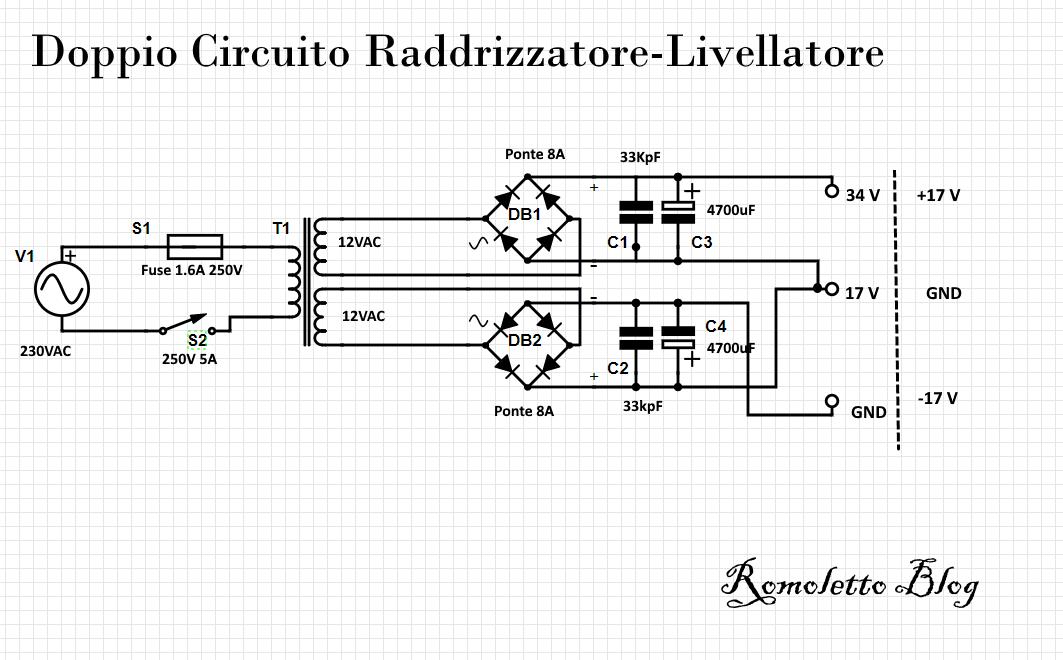 Schema Circuito Raddrizzatore Livellatore dell'alimentatore variabile