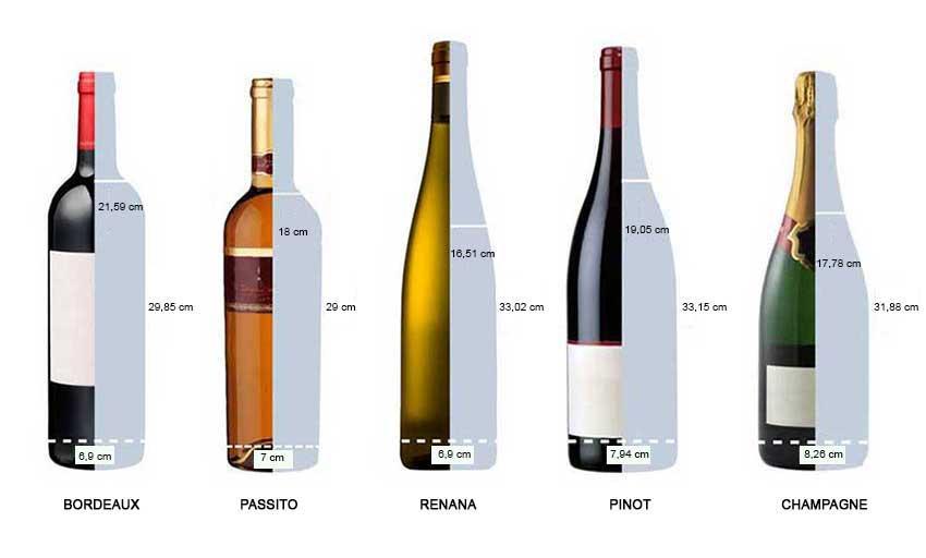 Formati bottiglie sicuramente alloggiabili nella cantinetta