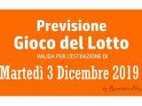 Previsione Lotto 3 Dicembre 2019