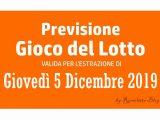 Previsione Lotto 5 Dicembre 2019