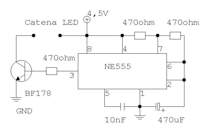 Lampeggiatore LED Schema elettronico