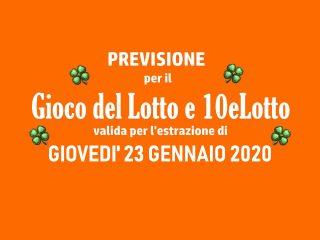 Previsione Lotto 23 Gennaio 2020
