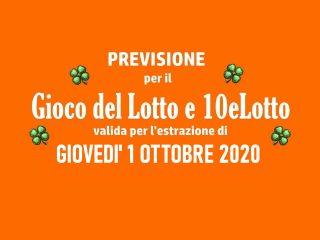 Previsione Lotto 1 Ottobre 2020