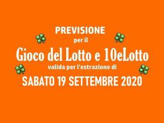 Previsione Lotto 19 Settembre 2020