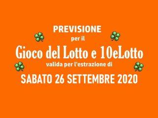 Previsione Lotto 26 Settembre 2020