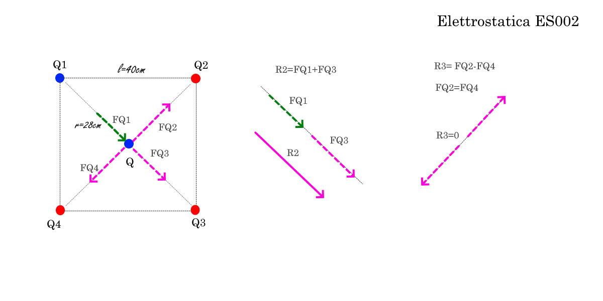 Forze agenti e R2 R3 ed R - Elettrostatica ES002 - Problemi di Fisica