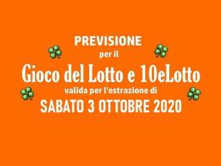Previsione Lotto 3 Ottobre 2020