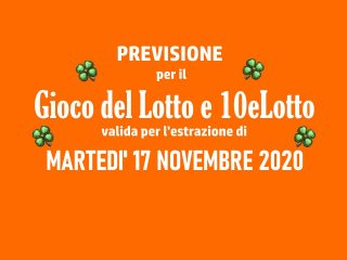 Previsione Lotto 17 Novembre 2020
