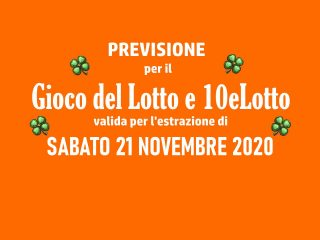Previsione Lotto 21 Novembre 2020