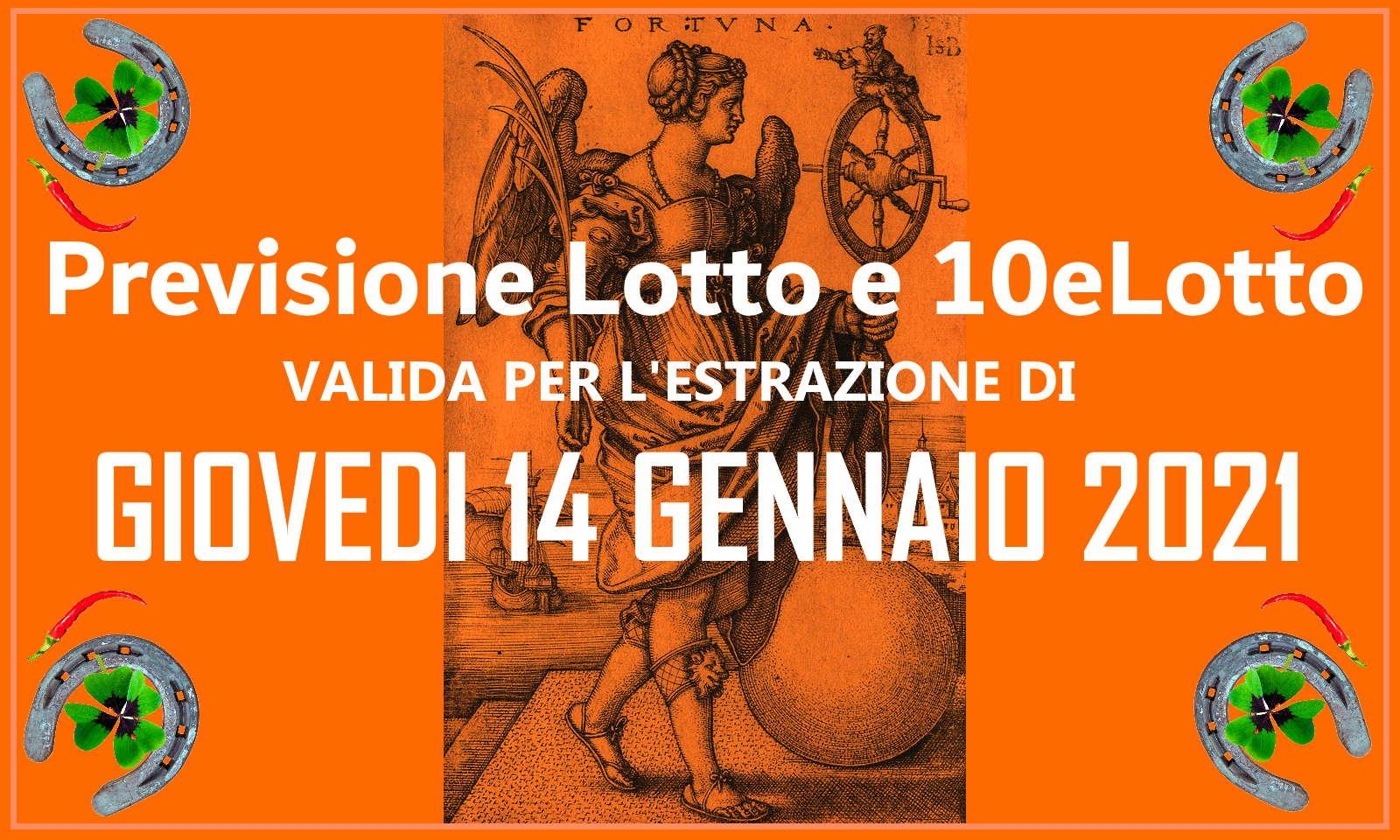 Previsione Lotto e 10eLotto del 14 Gennaio 2021