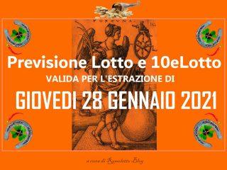 Previsione Lotto e 10eLotto del 28 Gennaio 2021