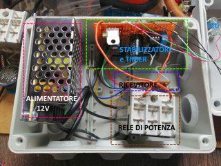 Interruttore Radiocomandato con Sensore di corrente - Disposizione del Modulo ricevitore