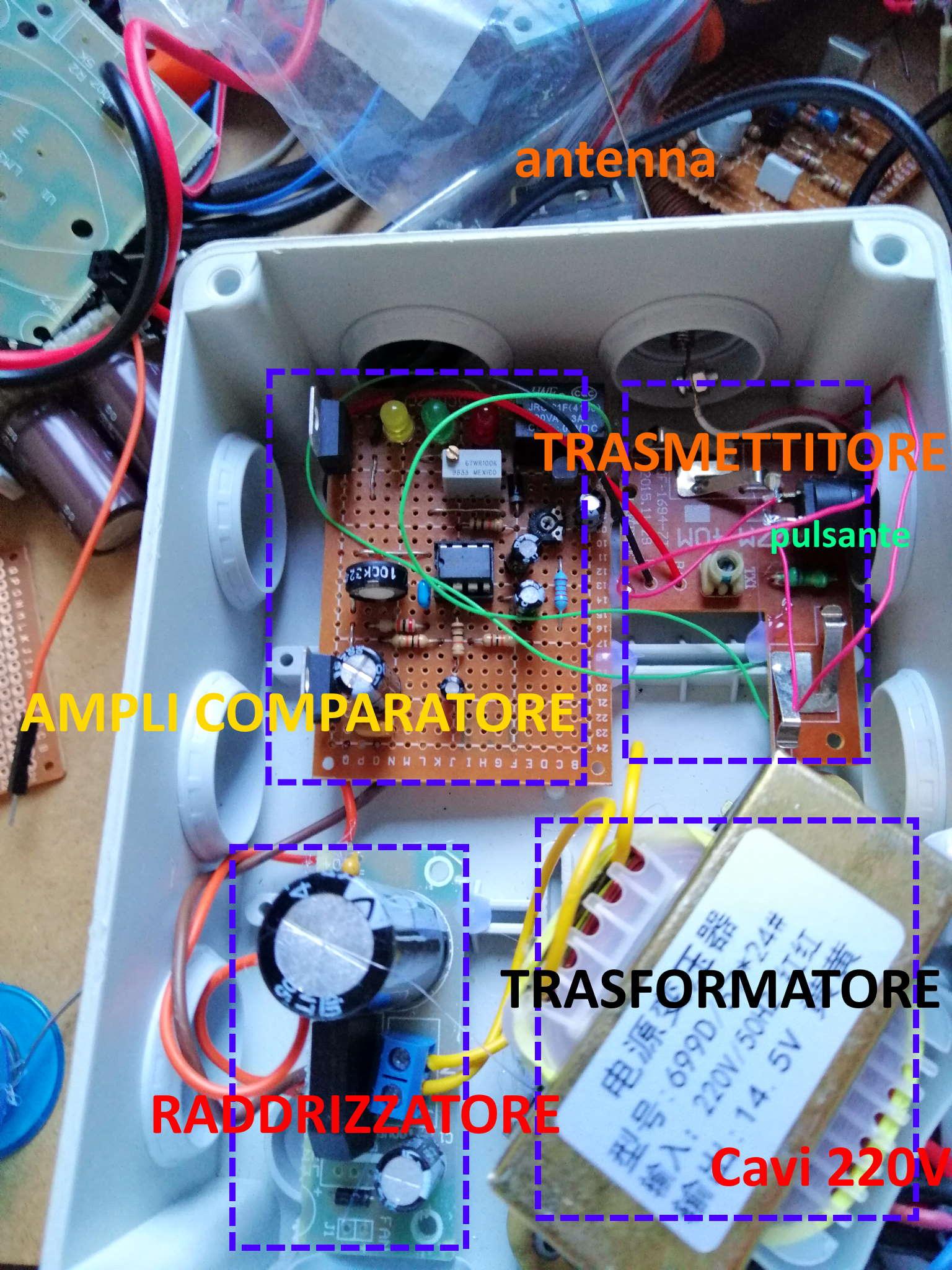 Interruttore Radiocomandato con Sensore di corrente - Disposizione del Modulo trasmettitore