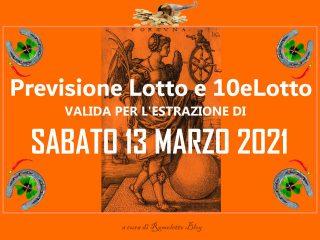 Previsione Lotto 13 Marzo 2021