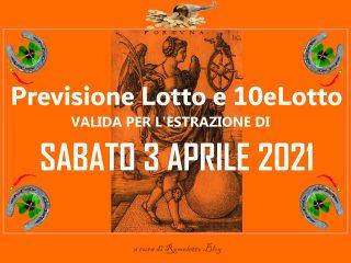 Previsione Lotto 3 Aprile 2021