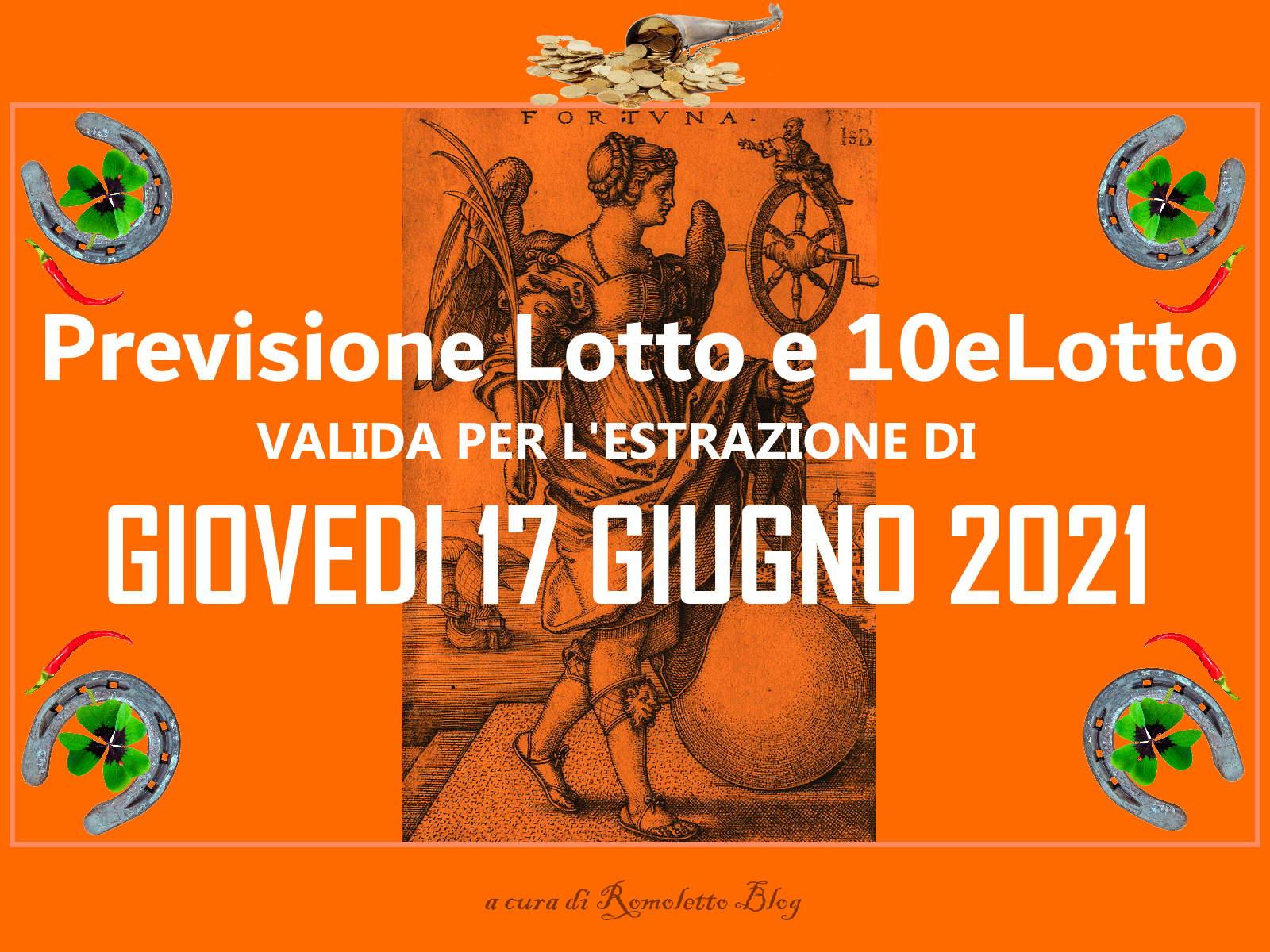 Previsione Lotto 17 Giugno 2021