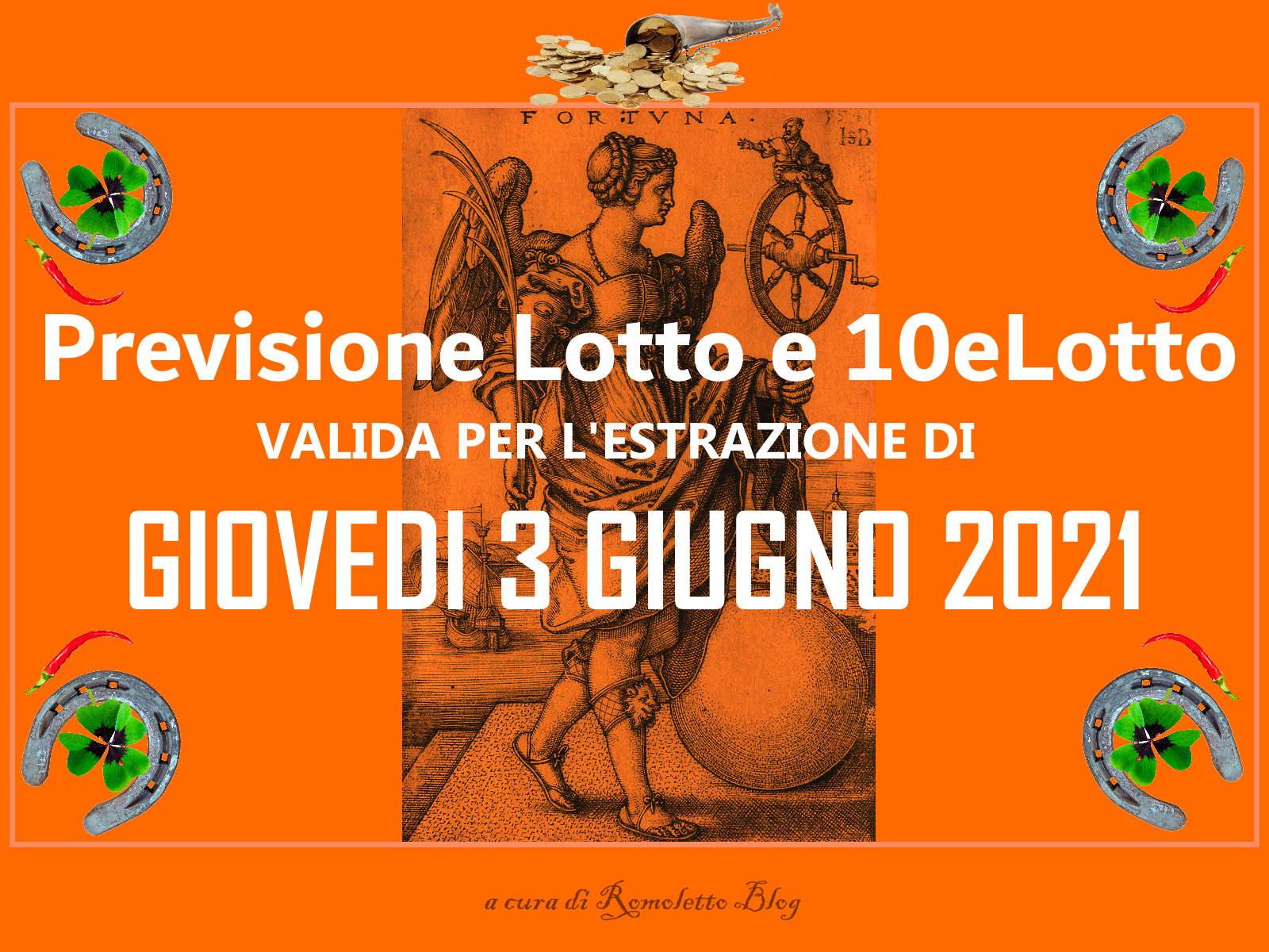 Previsione Lotto 3 Giugno 2021