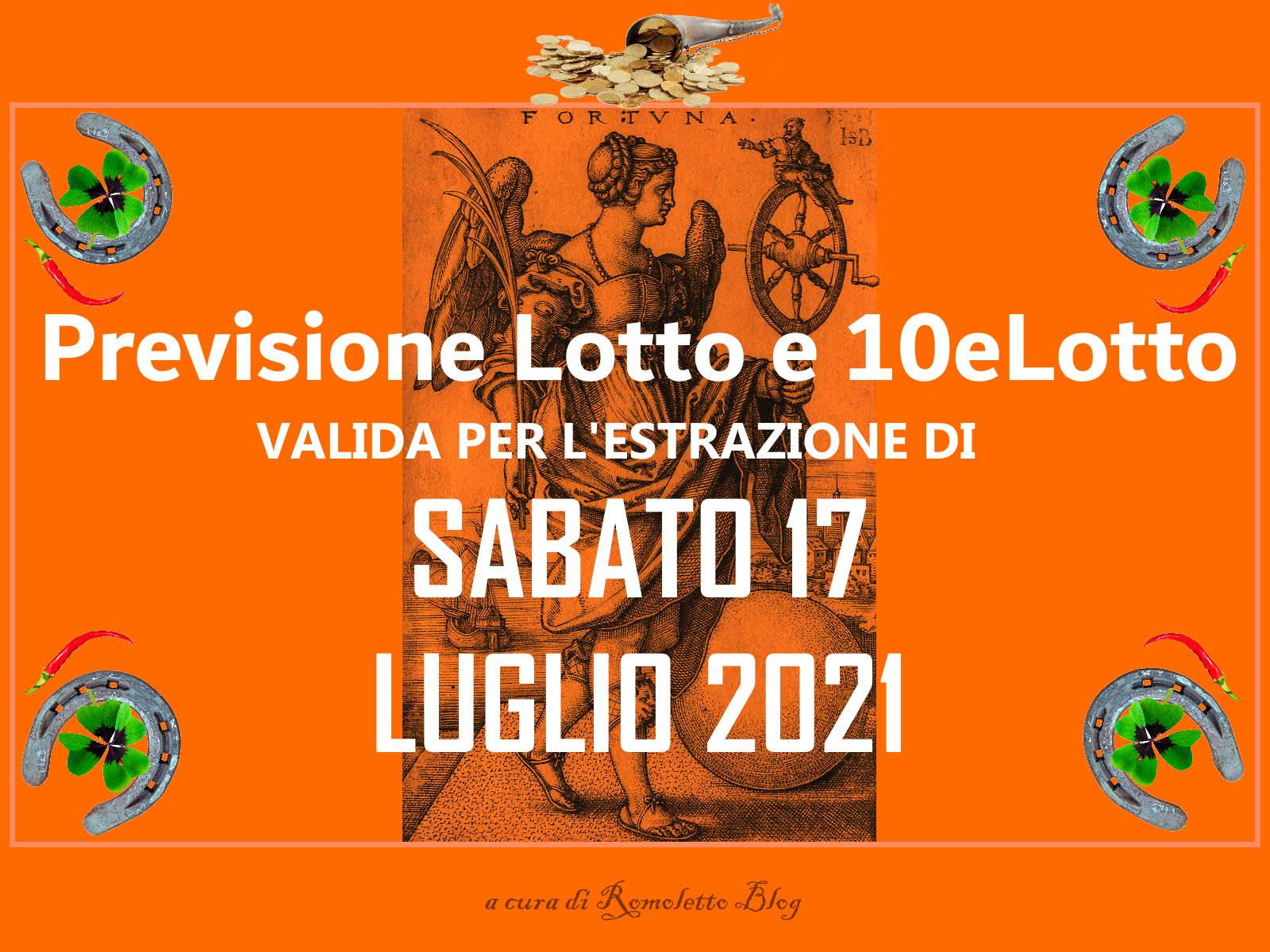 Previsione Lotto 17 Luglio 2021