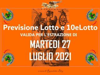 Previsione Lotto 27 Luglio 2021