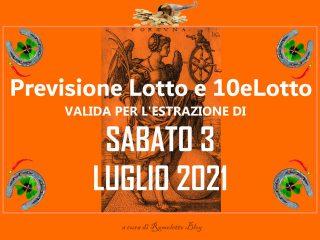 Previsione Lotto 3 Luglio 2021