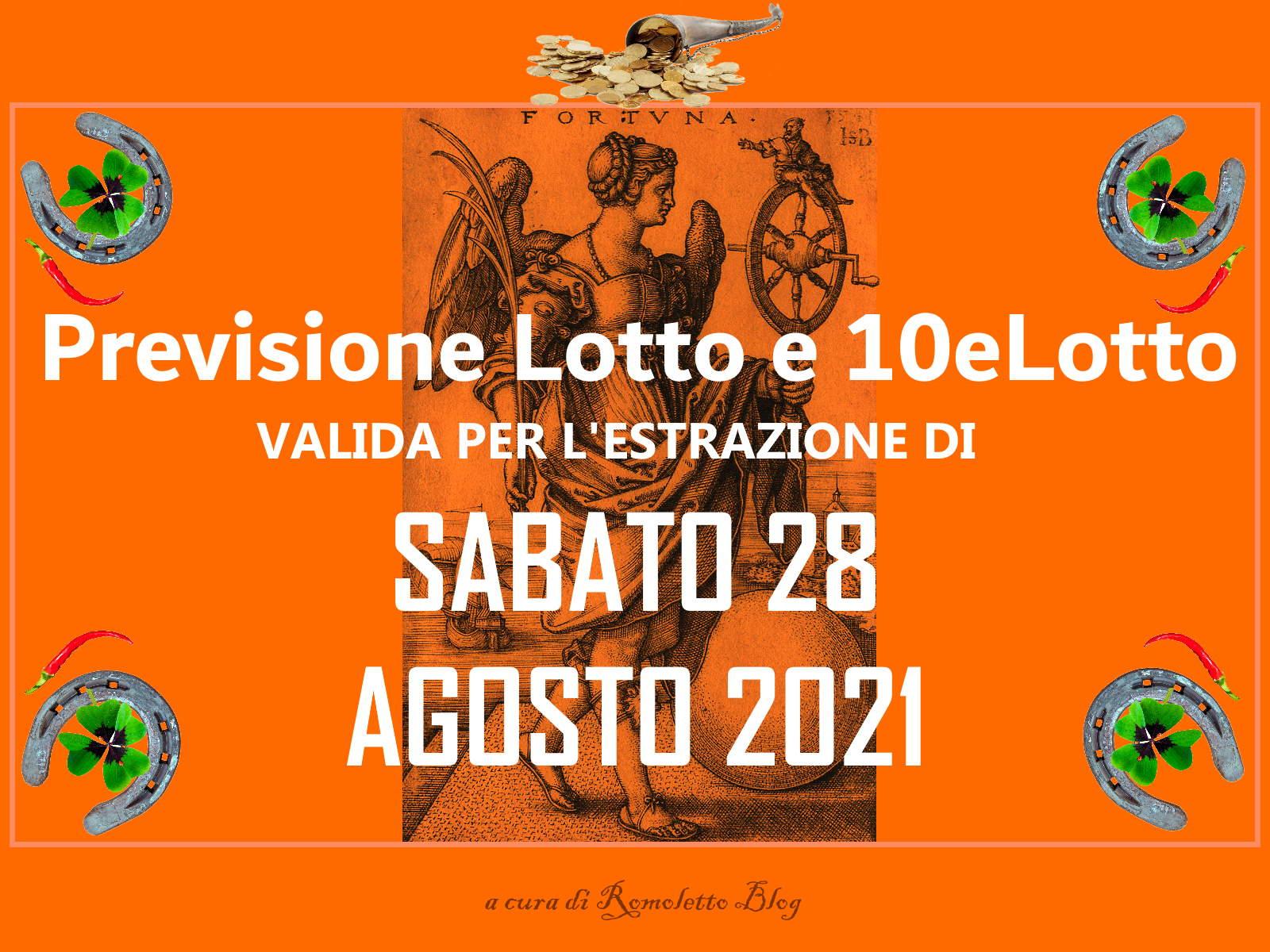 Previsione Lotto 28 Agosto 2021