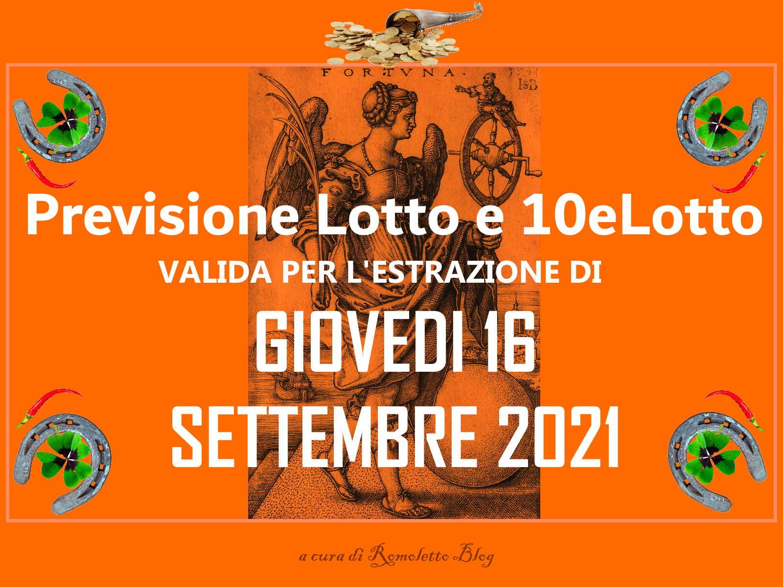 Previsione Lotto 16 Settembre 2021