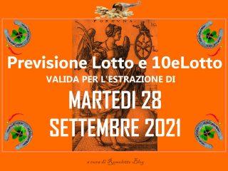 Previsione Lotto 28 Settembre 2021