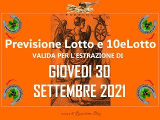Previsione Lotto 30 Settembre 2021