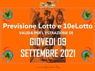 Previsione Lotto 9 Settembre 2021
