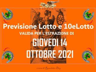 Previsione Lotto 14 Ottobre 2021