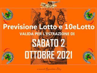 Previsione Lotto 2 Ottobre 2021