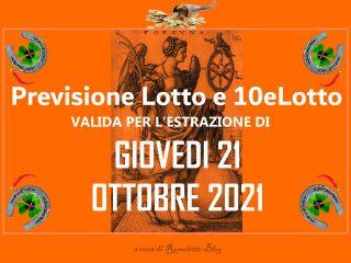 Previsione Lotto 21 Ottobre 2021
