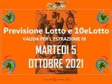 Previsione Lotto 5 Ottobre 2021