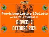 Previsione Lotto 7 Ottobre 2021